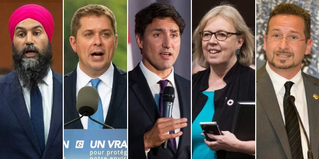 From left to right: NDP Leader Jagmeet Singh, Conservative Leader Andrew Scheer, Liberal Leader Justin Trudeau, Green Party Leader Elizabeth May and Bloc Québécois Leader Yves-François Blanchet have confirmed they will attend the federal election debates in October.