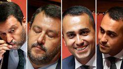 Tutte le facce di Salvini e Di Maio mentre Conte parla in Senato