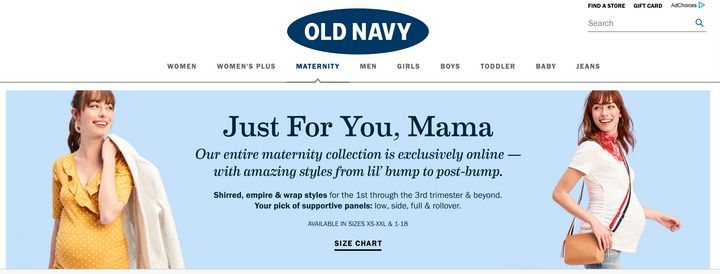 Old Navy's maternity line is only available up to sizes XXL or 18.