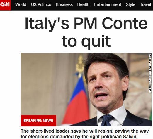 Le dimissioni di Conte in apertura sui siti stranieri, dal Financial Times ad Al