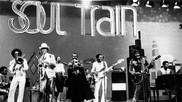Chuck Brown and the Soul Searchers, a band led by a singer who is called the Godfather of Go go and funk, on stage on the Soul Train television show, 1988. (Photo by Afro American Newspapers/Gado/Getty Images)