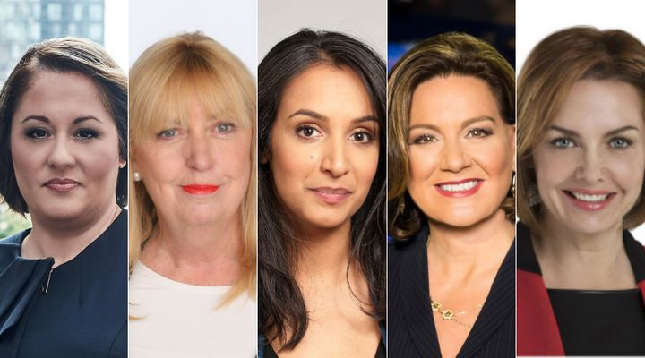 From left to right: Rosemary Barton, Susan Delacourt, Althia Raj, Lisa LaFlamme, Dawna Frisen will moderate the English leaders' debate.