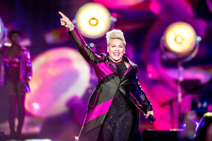 """Pink performs during her """"Beautiful Trauma World Tour 2019"""" concert in Horsens, Denmark on Aug. 7."""