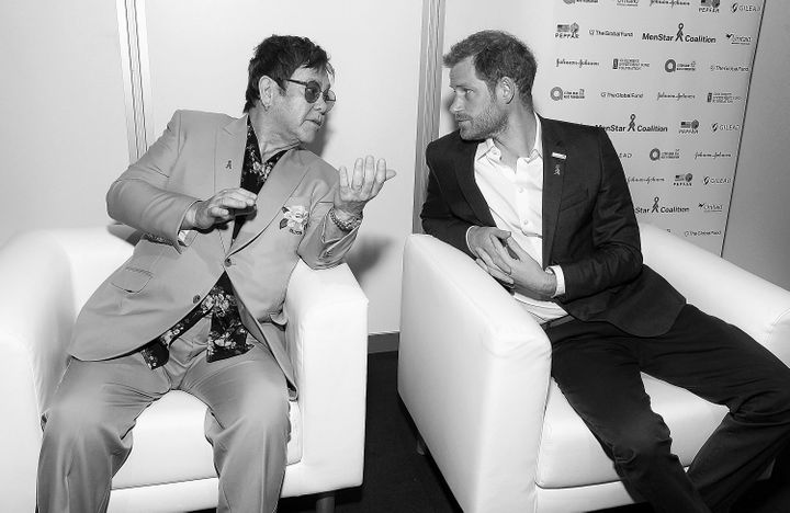 Elton John and Prince Harry attend the Launch of the Menstar Coalition to Promote HIV Testing & Treatment of Men on July