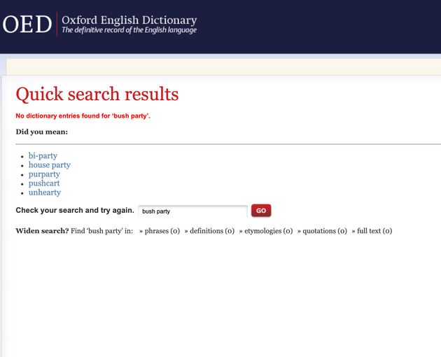 At the time of publication, no entries are found when a user searches for