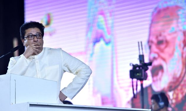 MNS chief Raj Thackeray showing PM Modi's video clip during a rally in the run-up to 2019 Lok Sabha
