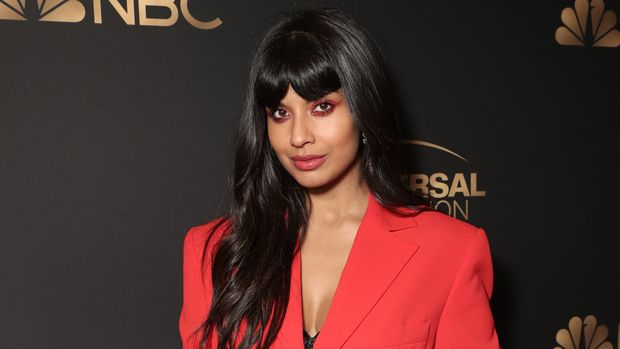 "NBCUNIVERSAL EVENTS -- NBC and Universal Television Emmy Nominee Celebration Mixer -- Pictured: Jameela Jamil, ""The Good Place"" -- (Photo by: Todd Williamson/NBC/NBCU Photo Bank via Getty Images)"