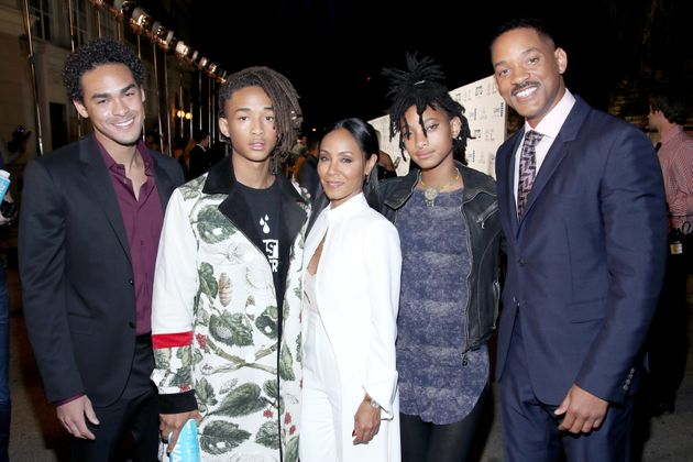 Trey Smith, Jaden Smith, Jada Pinkett Smith, Willow Smith and Will Smith at the Environmental Media Association...