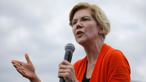 FILE - In this Aug. 10, 2019, file photo, Democratic presidential candidate Sen. Elizabeth Warren, D-Mass., speaks at the Iowa State Fair in Des Moines, Iowa. (AP Photo/John Locher, File)