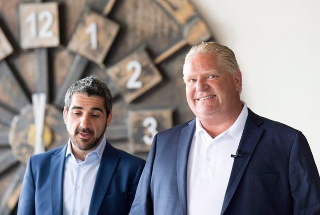 Ontario Minister of Training, Colleges and Universities Ross Romano poses with Premier Doug Ford during...
