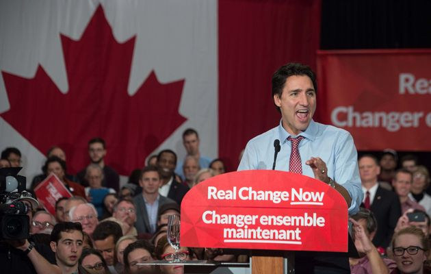 Prime Minister Justin Trudeau speaks at a victory rally in Ottawa on Oct. 20, 2015 after winning the...