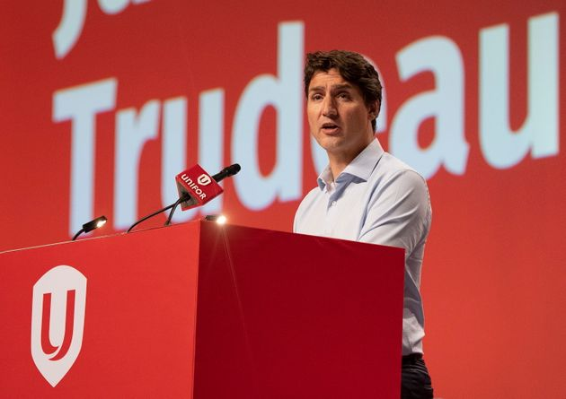 Prime Minister Justin Trudeau speaks at the Unifor union annual convention on Aug. 19, 2019 in Quebec