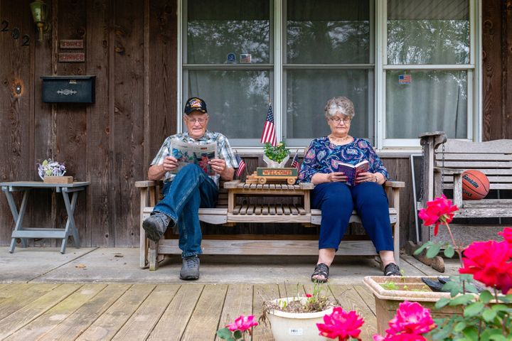 "70 Community Hospital board member, and his wife, Janice, on their porch in Sweet Springs, Mo. ""All he did was take from us,"""