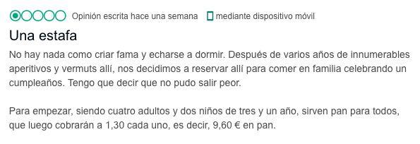 La implacable respuesta de un restaurante de Santander a esta crítica en