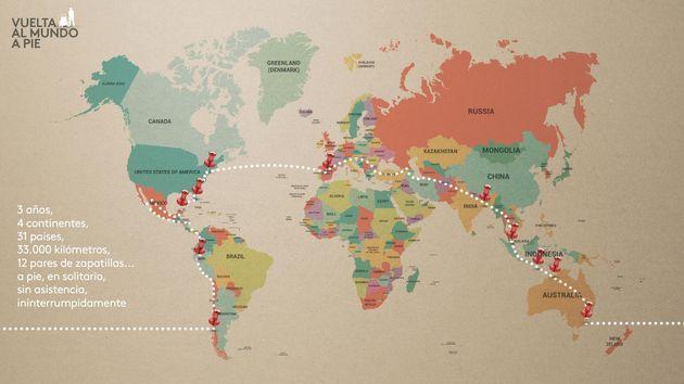 La historia del español que ha dado la vuelta al mundo andando y ha unido los cinco continentes