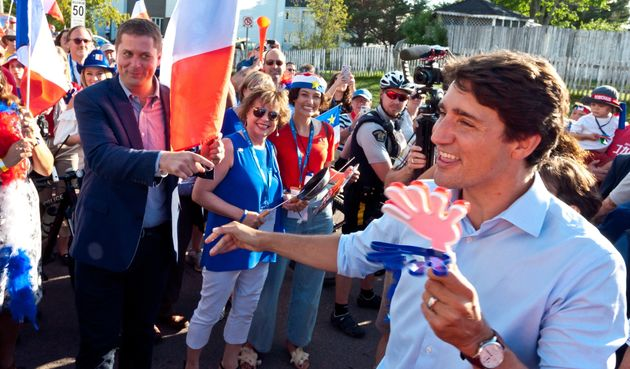 Andrew Scheer et Justin Trudeau se sont croisés sur le terrain lors duGrand Tintamarre à...
