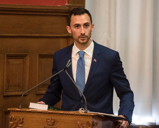 Ontario Education Minister Stephen Lecce is sworn in at Queen's Park in Toronto on June 20,
