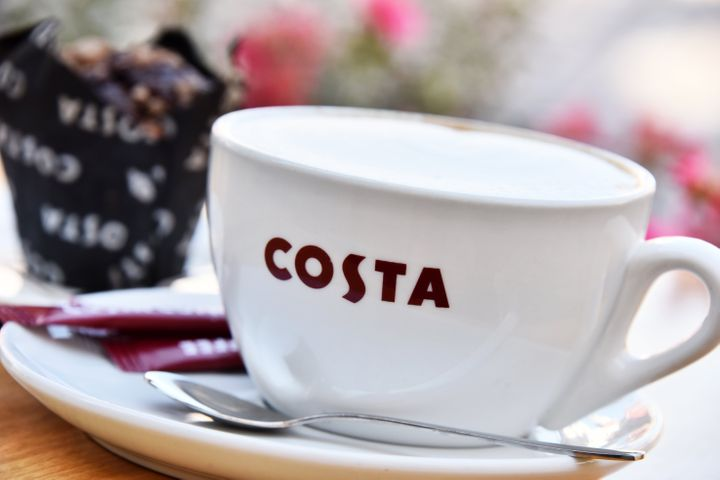 Poznan, Poland - August 31, 2016: Costa Coffee is a British multinational coffeehouse company headquartered in Dunstable, Bedfordshire; second largest coffeehouse chain in the world.