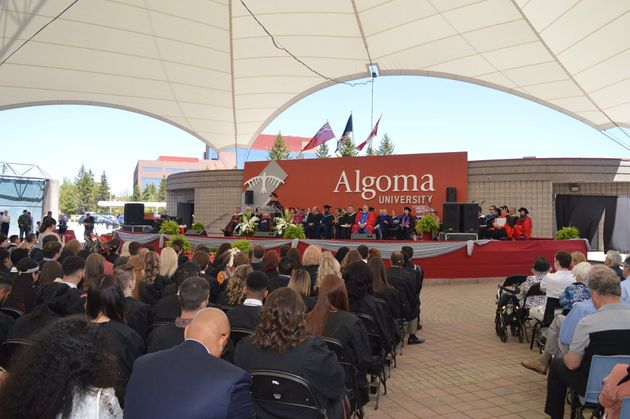 Guests attend Algoma University's 2019 convocation ceremony at Roberta Bondar Park in Sault Ste. Marie,