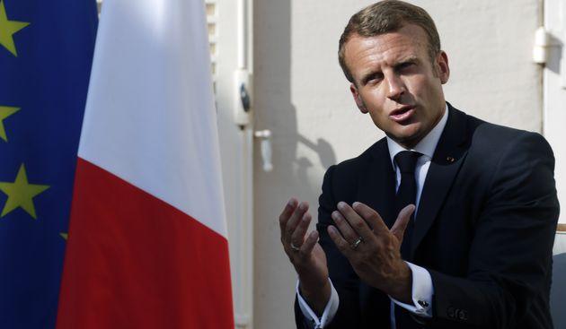 Emmanuel Macron lors de sa rencontre avec le président russe Vladimir Poutine le 19 août...