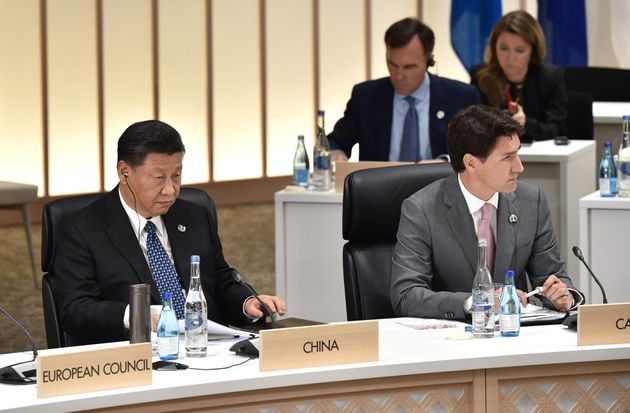 China's President Xi Jinping and Prime Minister Justin Trudeau at the G20 Summit on June 29, 2019 in...