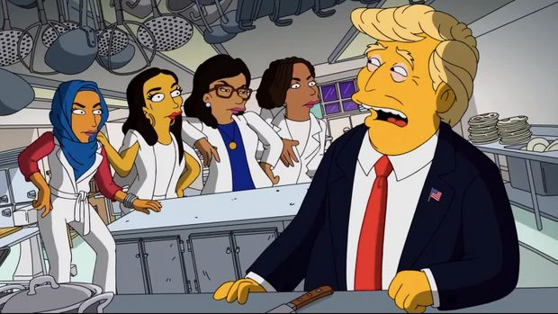 Trump meets The Squad on the Simpsons