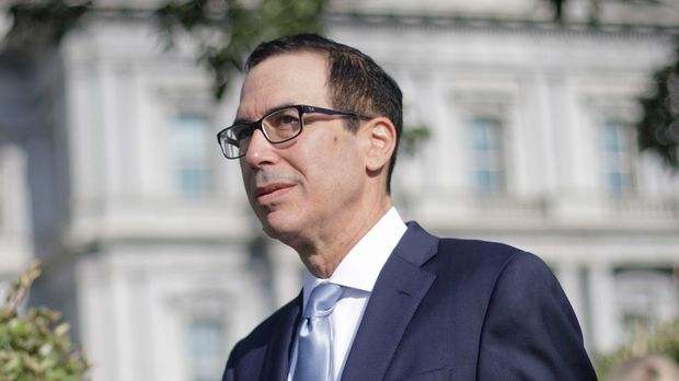 Treasury Secretary Steve Mnuchin walks out to speak to members of the media at the White House in Washington, Wednesday, July 24, 2019. (AP Photo/Pablo Martinez Monsivais)