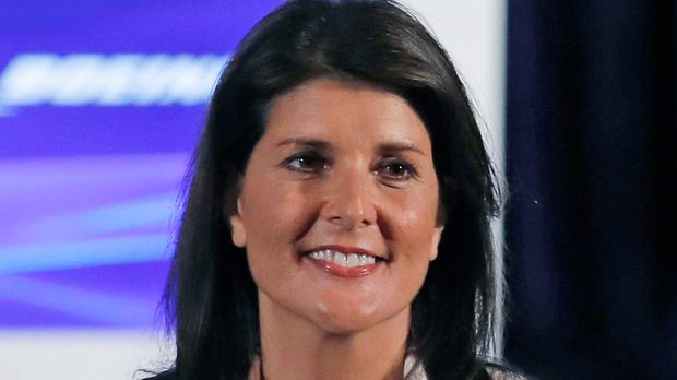 Nikki Haley is introduced at the Boeing annual shareholders meeting at the Field Museum in Chicago, Monday, April 29, 2019. (AP Photo/Jim Young, Pool)
