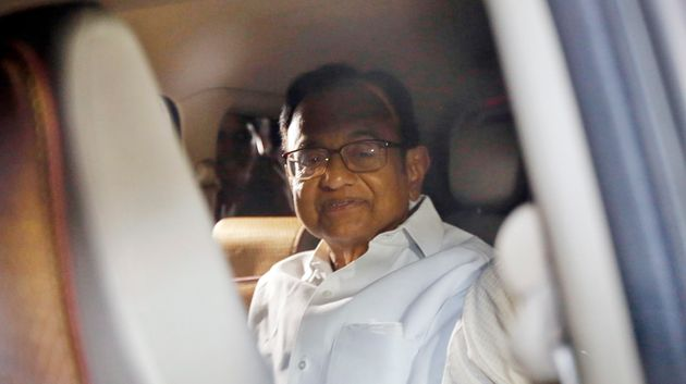 CBI officials take away Congress leader and former Union Minister P Chidambaram from his residence, on...
