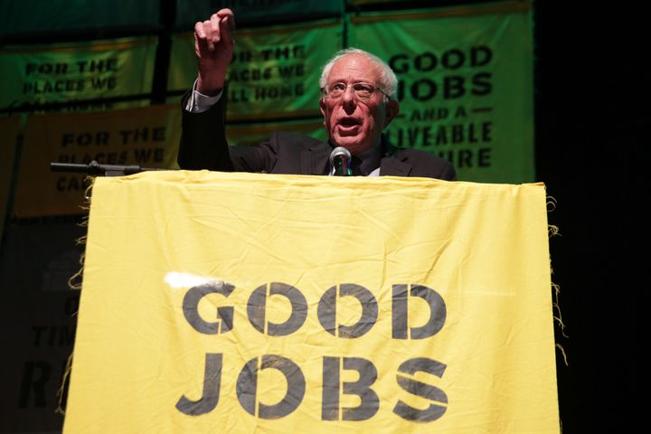 Sen. Bernie Sanders (I-Vt.) spoke at a Green New Deal rally at Howard University in May.