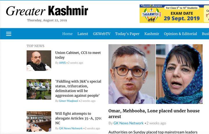 A screenshot of Greater Kashmir taken on August 22.