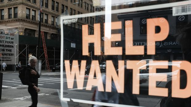 NEW YORK, NY - OCTOBER 05:  A help wanted sign is displayed in the window of a Brooklyn business on October 5, 2018 in New York, United States. Newly released data by the Labor Department on Friday shows that US employers added 134,000 jobs last month. While this was below economists expectations of 185,00, it brought the unemployment rate down to  3.7 percent, the lowest since December 1969.  (Photo by Spencer Platt/Getty Images)
