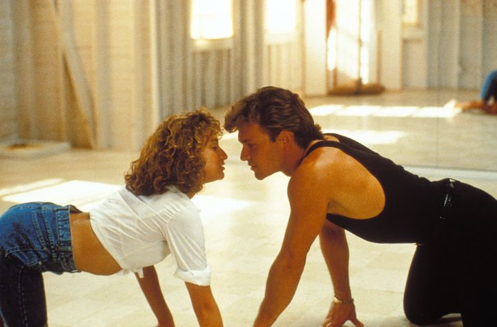 "Patrick Swayze and Jennifer Grey in the movie ""Dirty dancing"" by Emile Ardolino. (Photo by GAMMA/Gamma-Rapho via Getty Images)"