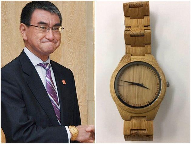 河野太郎外相(左、時事通信社)と時計(右、河野氏のTwitterから)