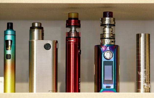 E-cigarettes placed on a shelf for sale in a store in Prague, Czech Republic, January 31,