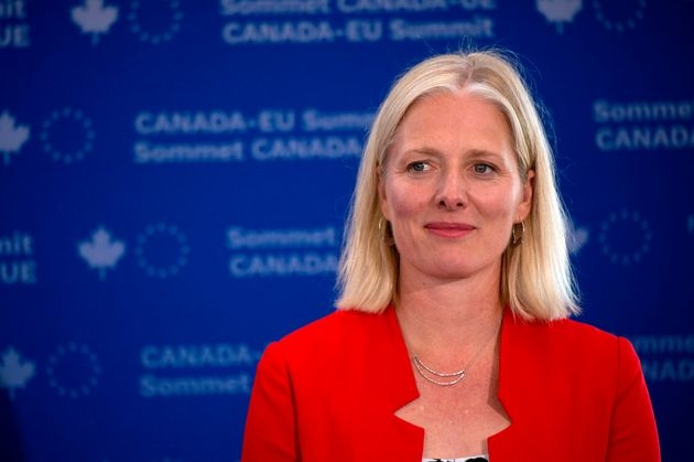 Catherine McKenna participates in a signing ceremony during the Canada-EU Summit in Montreal on July...