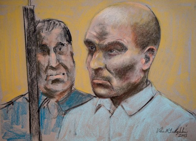 Bertrand Charest is seen on a court drawing during a bail hearing in St-Jerome, Que., on March...