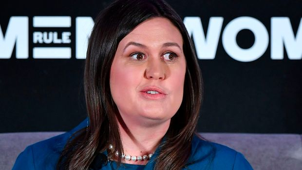 White House Press Secretary Sarah Huckabee Sanders speaks during the 6th Annual Women Rule Summit at a hotel in Washington, DC on December 11, 2018. (Photo by MANDEL NGAN / AFP)        (Photo credit should read MANDEL NGAN/AFP/Getty Images)