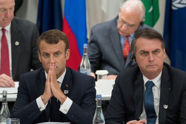 Emmanuel Macron et Jair Bolsonaro côte-à-côte lors du G20 au mois de