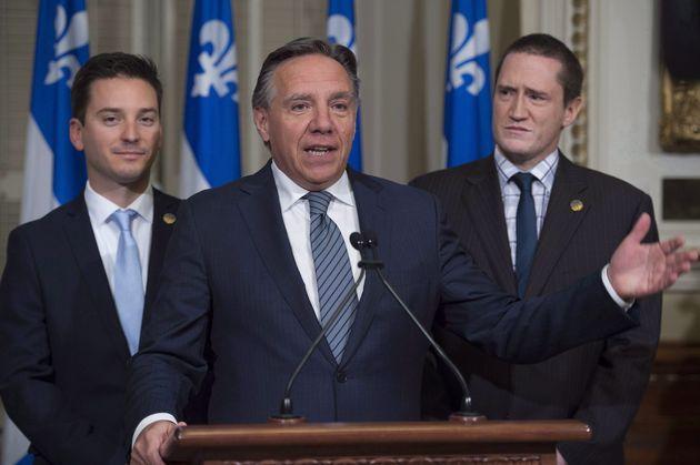 Quebec Premier Francois Legault addresses the media during a news conference in Quebec City on Oct. 19,...