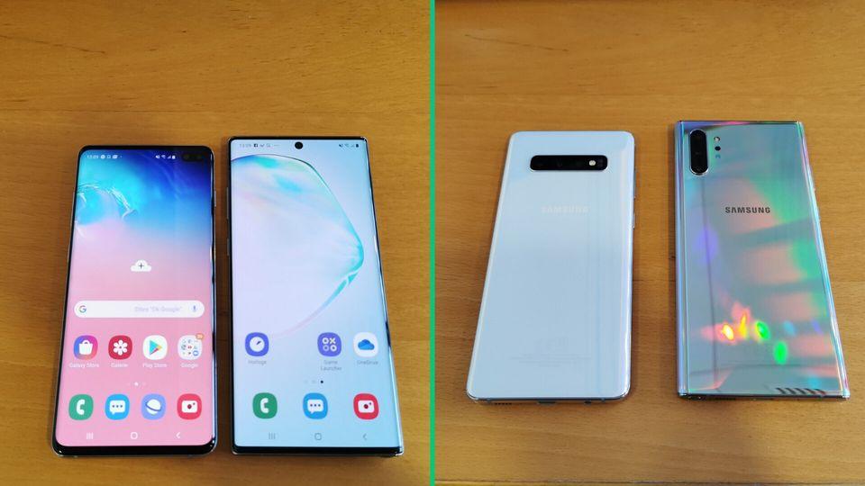 Le Samsung Galaxy Note 10 Plus (droite) et ses 6,8 pouces de diagonale contre les 6,4 du Galaxy S10 Plus