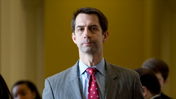 Sen. Tom Cotton, R-Ark., leaves a Senate policy luncheon on Capitol Hill in Washington, Tuesday, March 12, 2019. (AP Photo/Andrew Harnik)