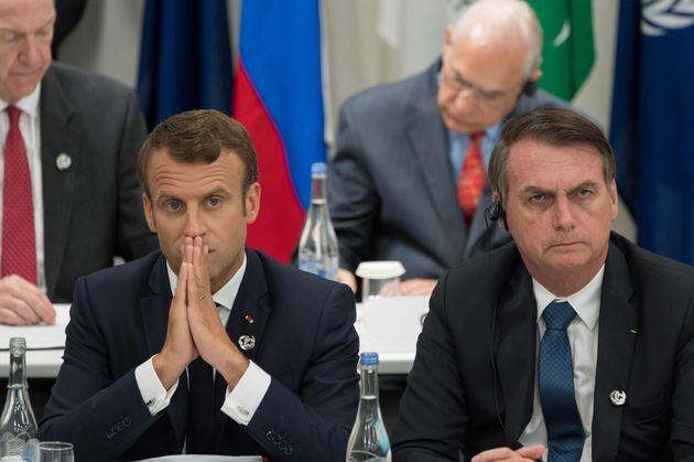 Macron y Bolsonaro, durante la reunión del G20 en Osaka, el pasado mes de