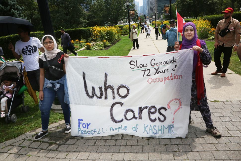 Kashmiris rally outside Queen's Park in Toronto on Aug. 17,