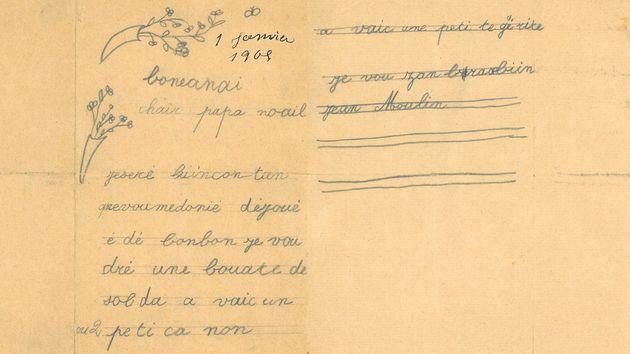 Lettre de Jean Moulin au père noël, le 1er janvier