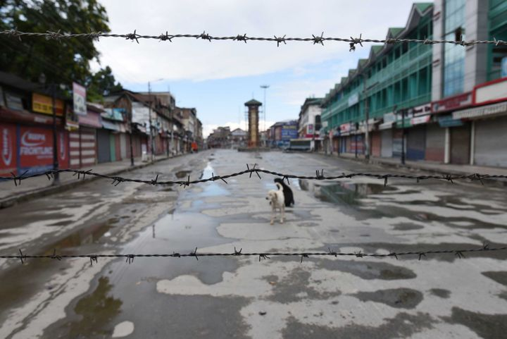 Barbed wire is set up as barricade in Srinagar, India on Aug. 20, 2019.