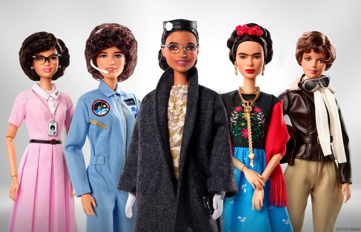 Barbie's Inspiring Women series, which includes (from left to right) Katherine Johnson, Sally Ride, Rosa Parks, Frida Kahlo a