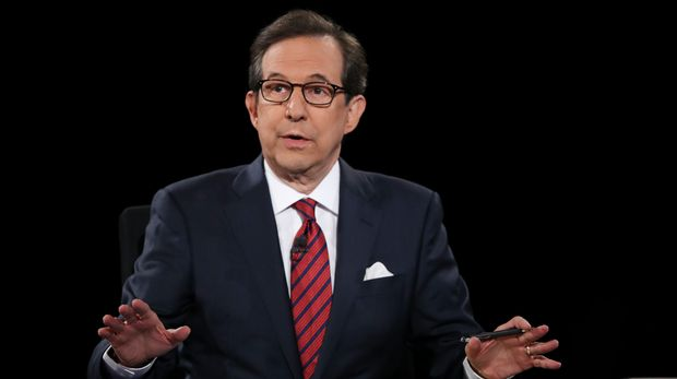 Moderator Chris Wallace of FOX News guides the discussion between Democratic presidential nominee Hillary Clinton and Republican presidential nominee Donald Trump during the third presidential debate at UNLV in Las Vegas, Wednesday, Oct. 19, 2016. (Joe Raedle/Pool via AP)