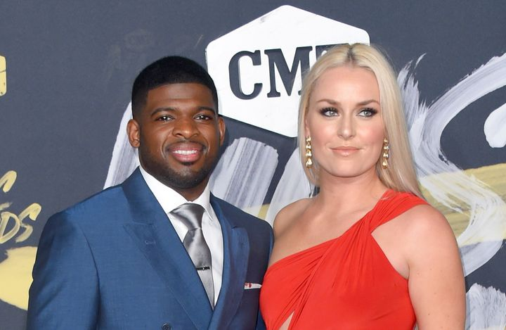 P.K. Subban and Lindsey Vonn make their first public appearance together at the CMT Music Awards in 2018.