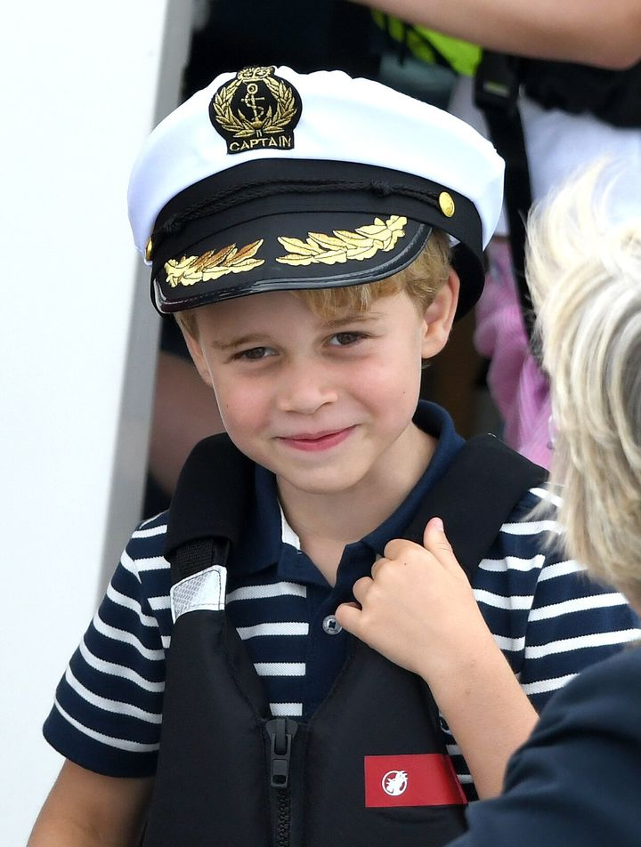 Prince George watches the inaugural King's Cup regatta hosted by the Duke and Duchess of Cambridge on Aug. 8 in Cowes,